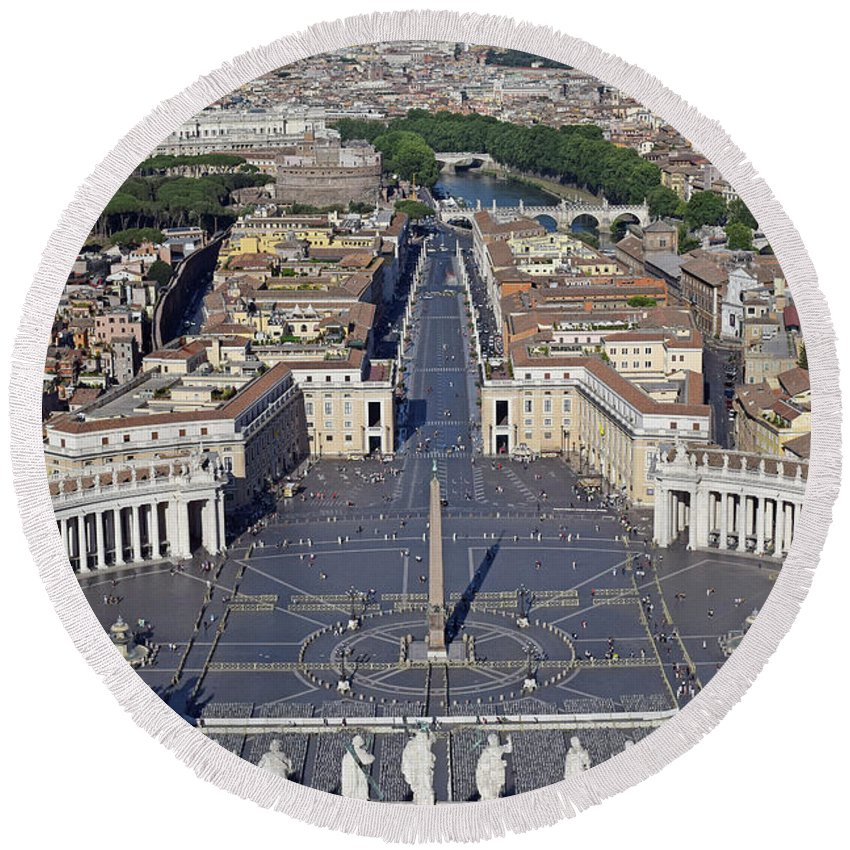 Aerial Round Beach Towel featuring the photograph Piazza San Pietro And Colonnaded Square As Seen From The Dome Of Saint Peter's Basilica - Rome, Ital by Mihaela Nica