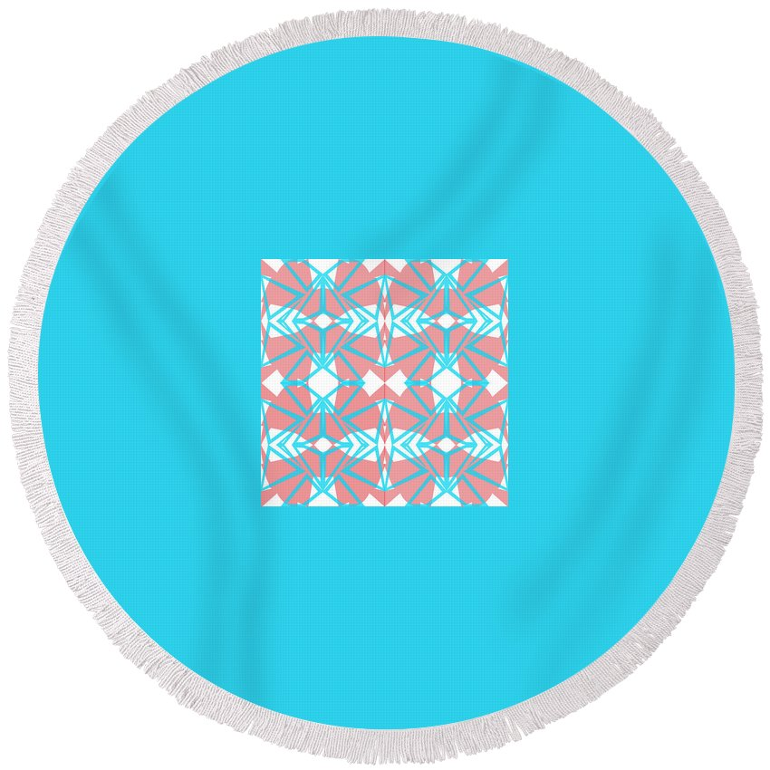 Digital Geometric Abstract Design Pattern Round Beach Towel featuring the digital art Pic12_coll1_15022018 by John England