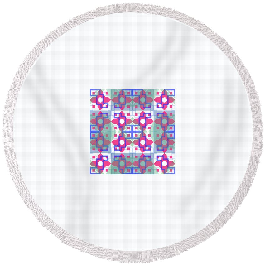 Digital Geometric Abstract Design Pattern Round Beach Towel featuring the digital art Pic14_coll1_15022018 by John England