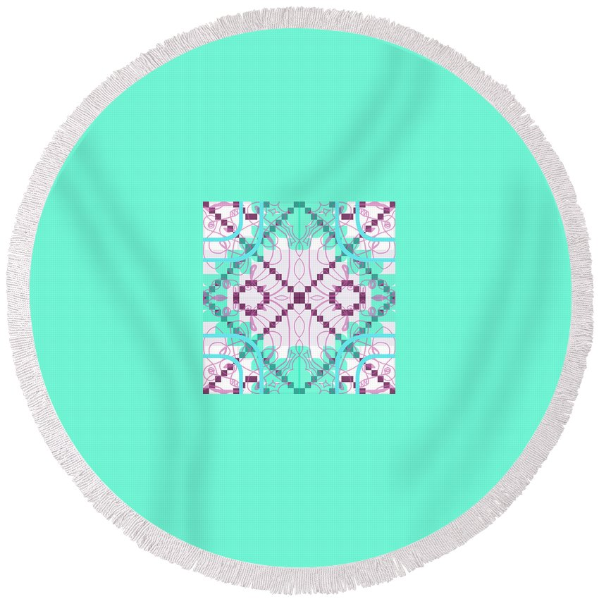 Digital Geometric Abstract Design Pattern Round Beach Towel featuring the digital art Pic2_coll1_15022018 by John England