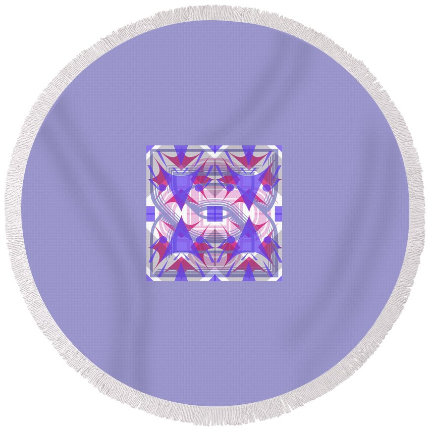 Digital Geometric Abstract Design Pattern Round Beach Towel featuring the digital art Pic3_coll2_15022018 by John England