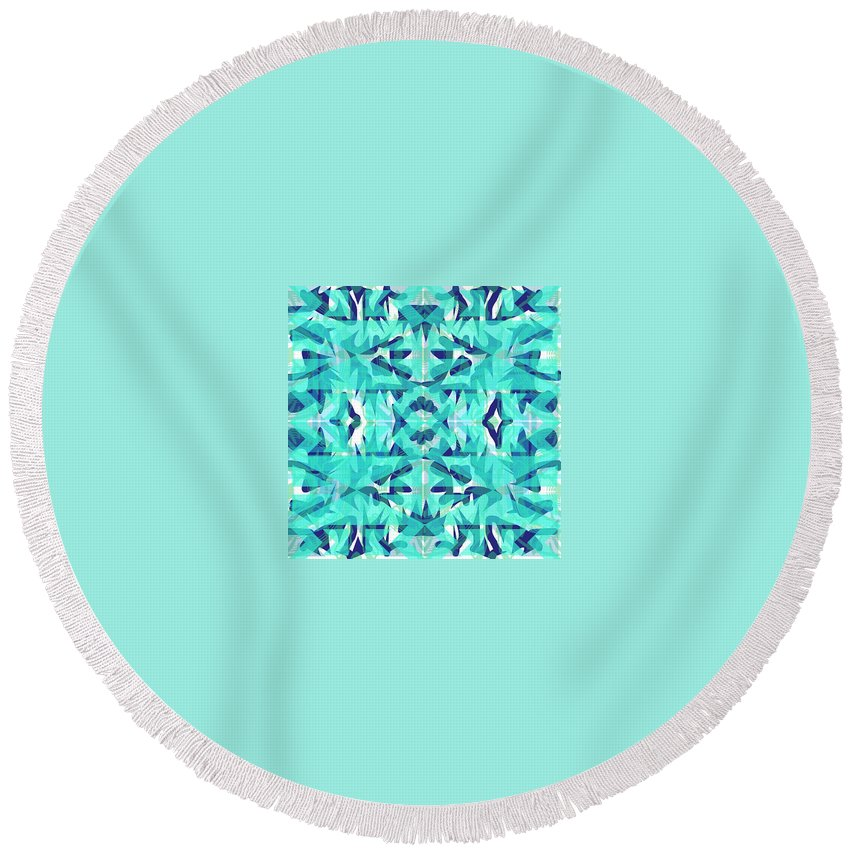 Digital Geometric Abstract Design Pattern Round Beach Towel featuring the digital art Pic9_coll1_15022018 by John England