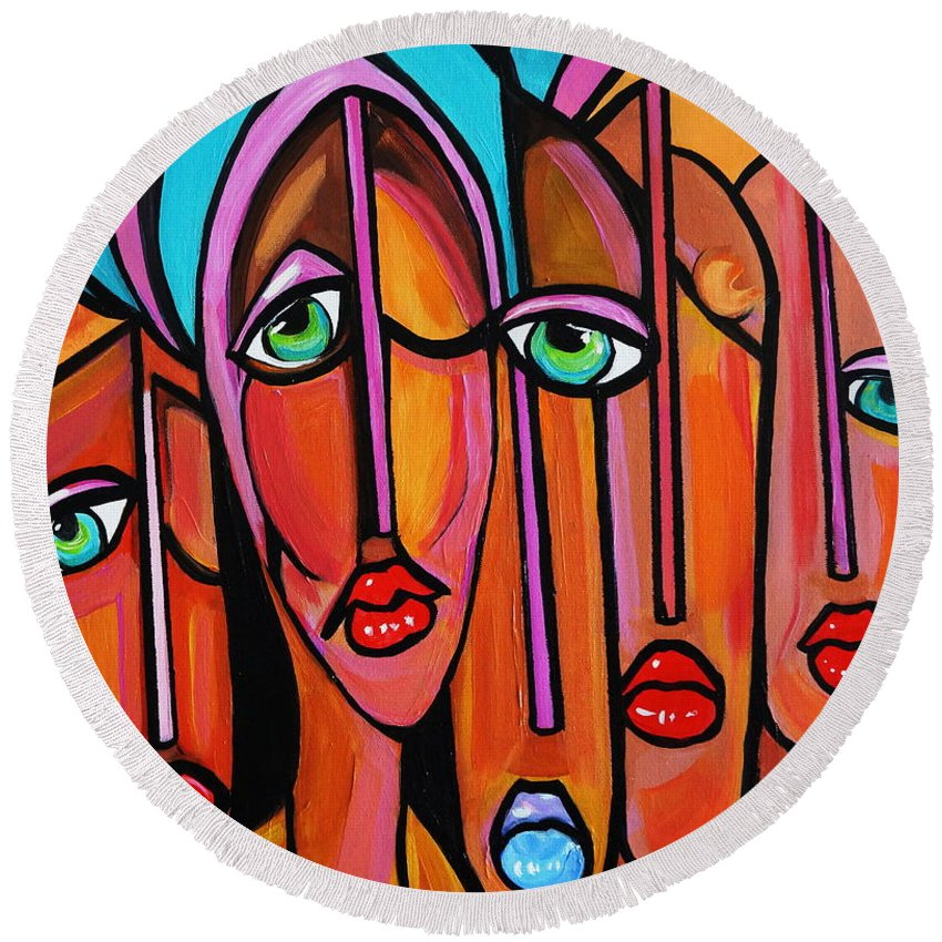 Picasso By Nora Four Eyes Round Beach Towel featuring the painting Picasso By Nora Four Eyes by Nora Shepley