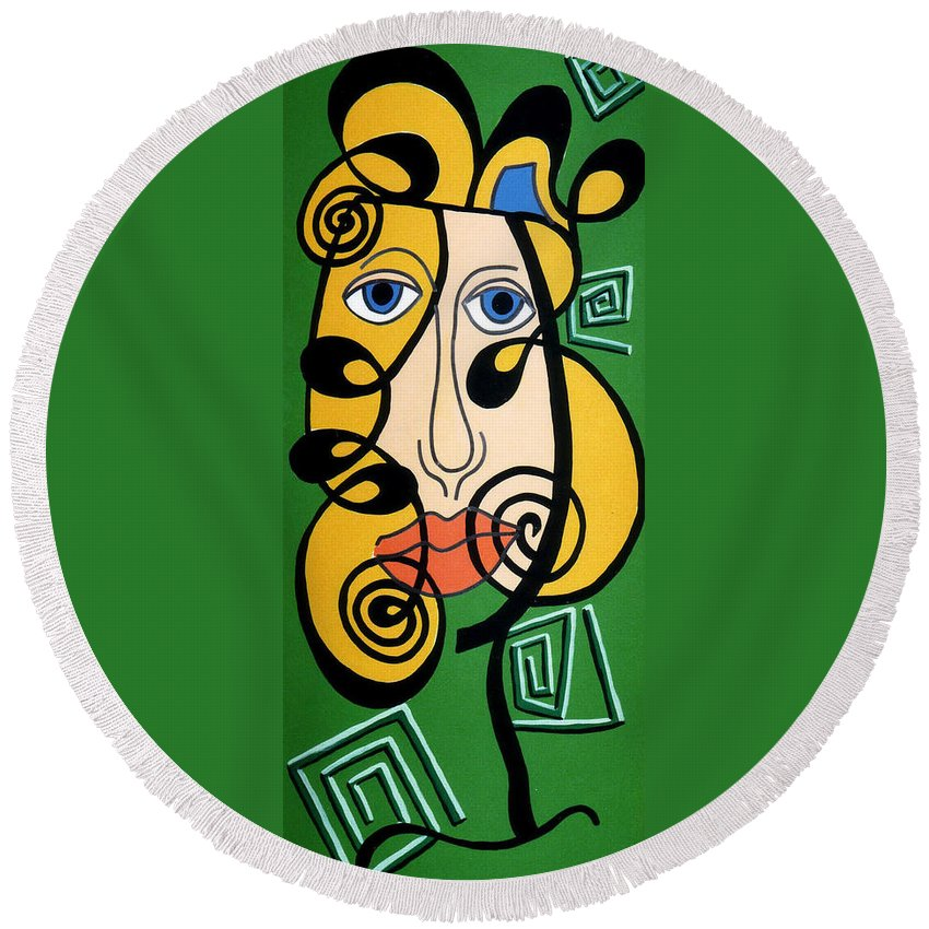 Round Beach Towel featuring the painting Picasso Influence by Catt Kyriacou