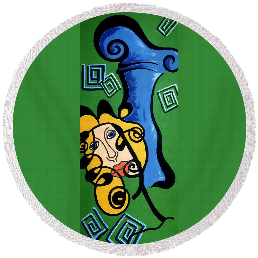 Round Beach Towel featuring the painting Picasso Influence With A Greek Twist by Catt Kyriacou