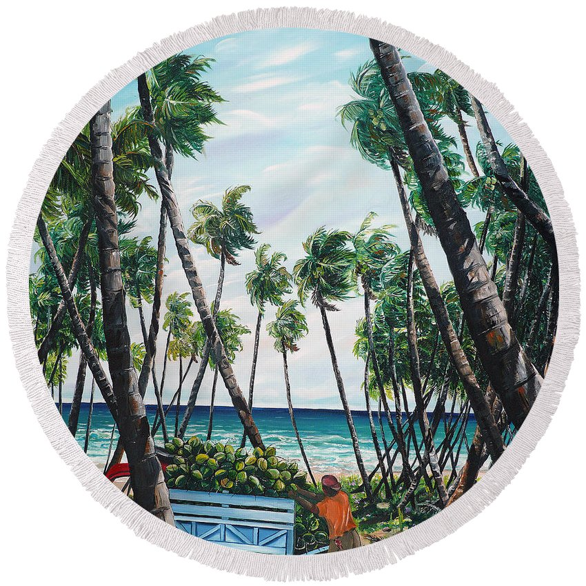 Beach Paintings Ocean Paintings  Caribbean Paintings Coconuts Paintings Tropical Paintings Truck Paintings Sea Paintings Trinidad And Tobago Paintings Tropical Paintings. Greeting Card Paintings Canvas Print Paintings Poster Paintings Round Beach Towel featuring the painting Picking Coconuts .. Mayaro by Karin Dawn Kelshall- Best