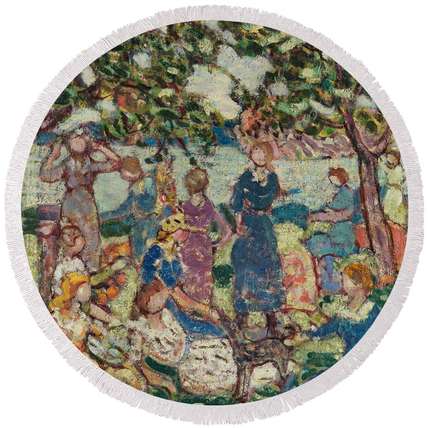 Maurice Brazil Prendergast Round Beach Towel featuring the painting Picnic By The Inlet by Maurice Brazil Prendergast