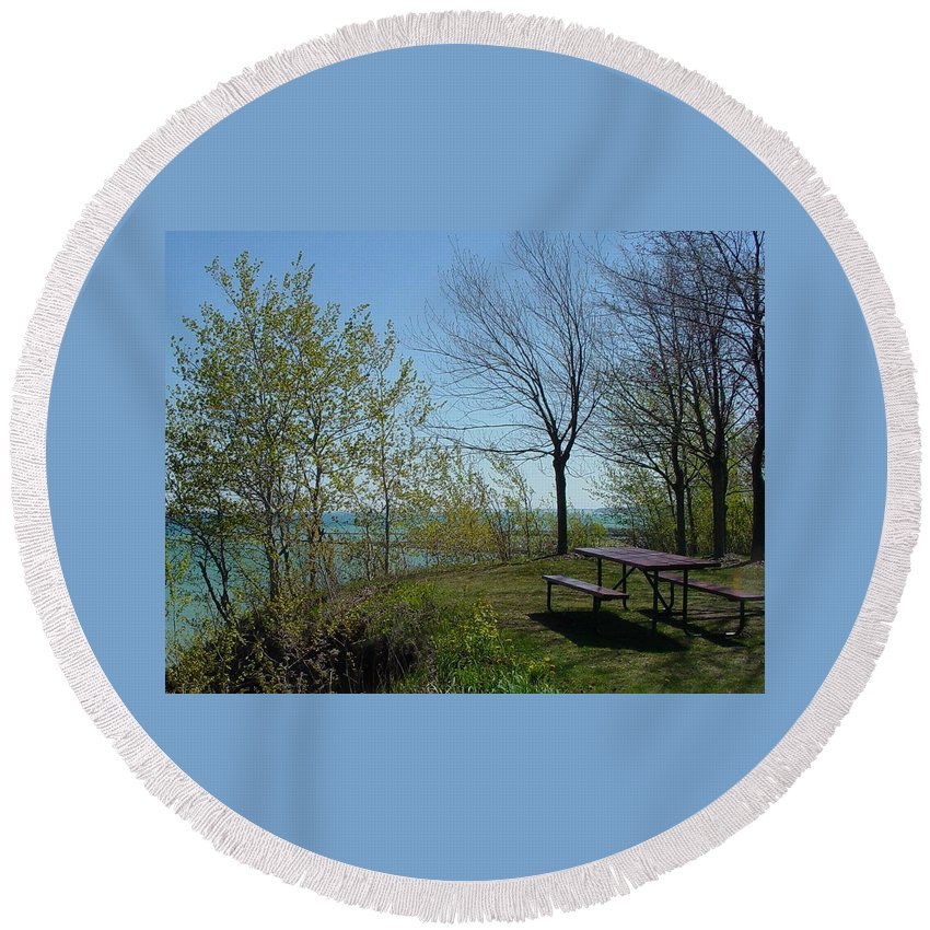 Lake View Round Beach Towel featuring the photograph Picnic Table By The Lake Photo by Anita Burgermeister