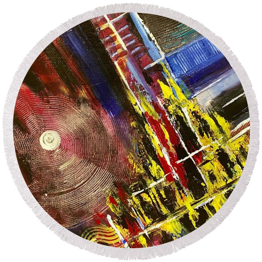 Round Beach Towel featuring the painting Picture 3 by Risolat Makhamedova