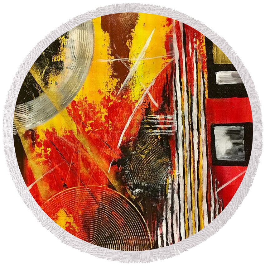 Round Beach Towel featuring the painting Picture 5 by Risolat Makhamedova