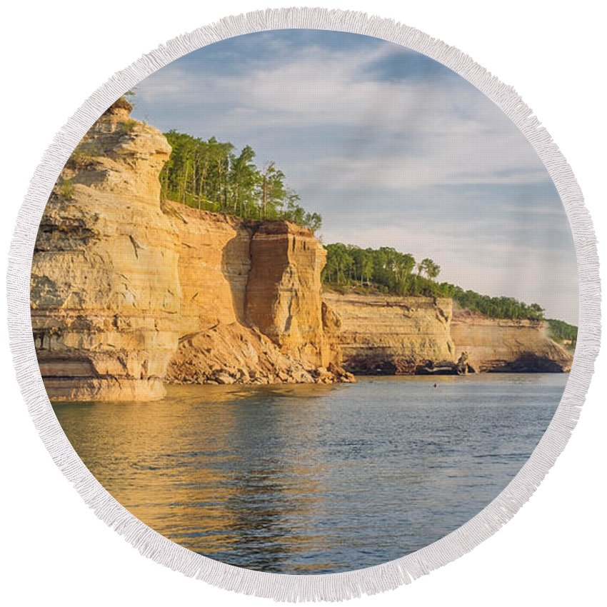 Round Beach Towel featuring the photograph Pictured Rock by Felisidelfa Barber