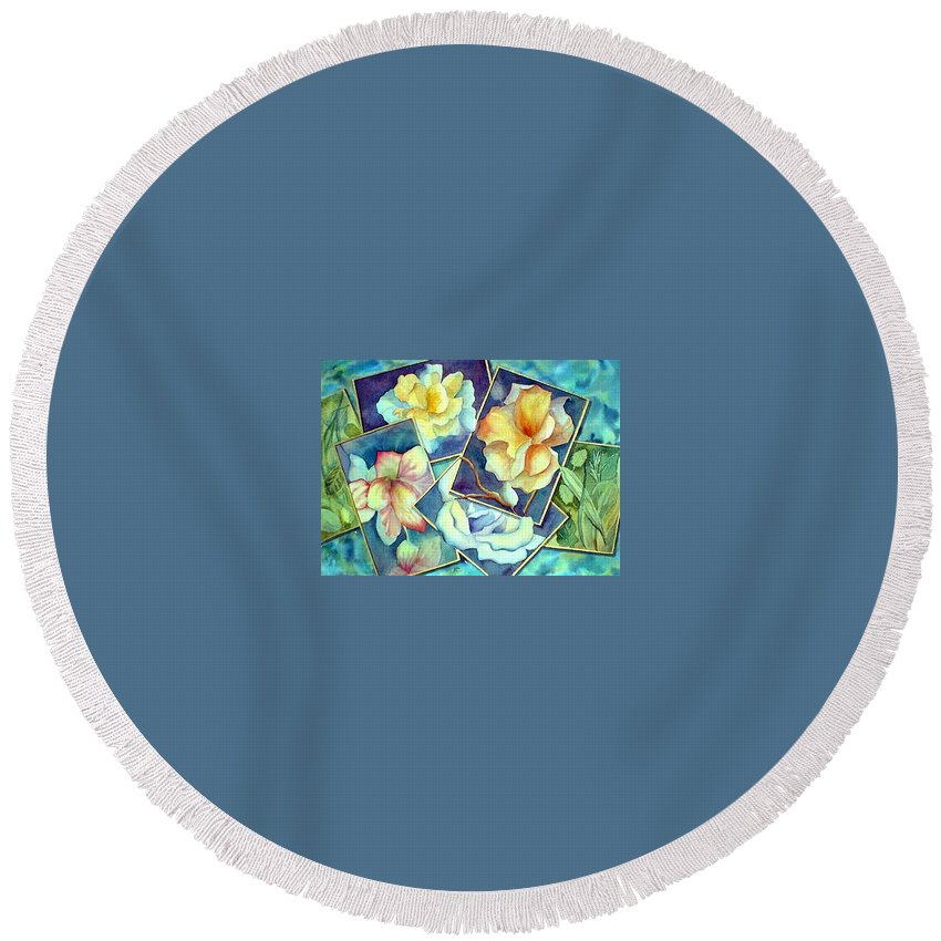 Watercolor Round Beach Towel featuring the painting Pictures At An Exhibition by Debbie Lewis