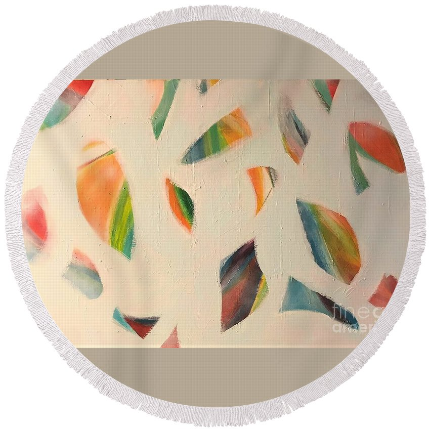 White Round Beach Towel featuring the painting Pieces by Kate Speer Ely