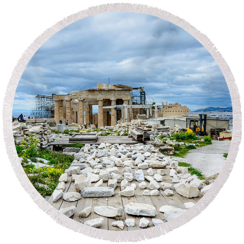 Pieces Of The Puzzle Round Beach Towel featuring the photograph Acropolis - Pieces Of The Puzzle by Debra Martz