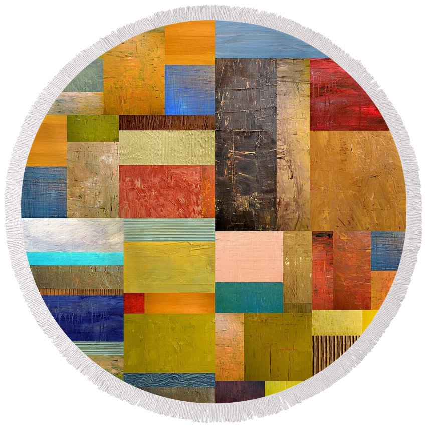 Textural Round Beach Towel featuring the painting Pieces Project Lll by Michelle Calkins