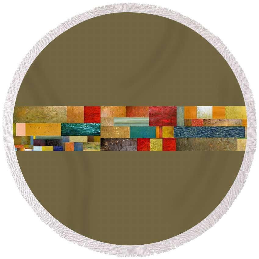 Skinny Round Beach Towel featuring the painting Pieces Project V by Michelle Calkins