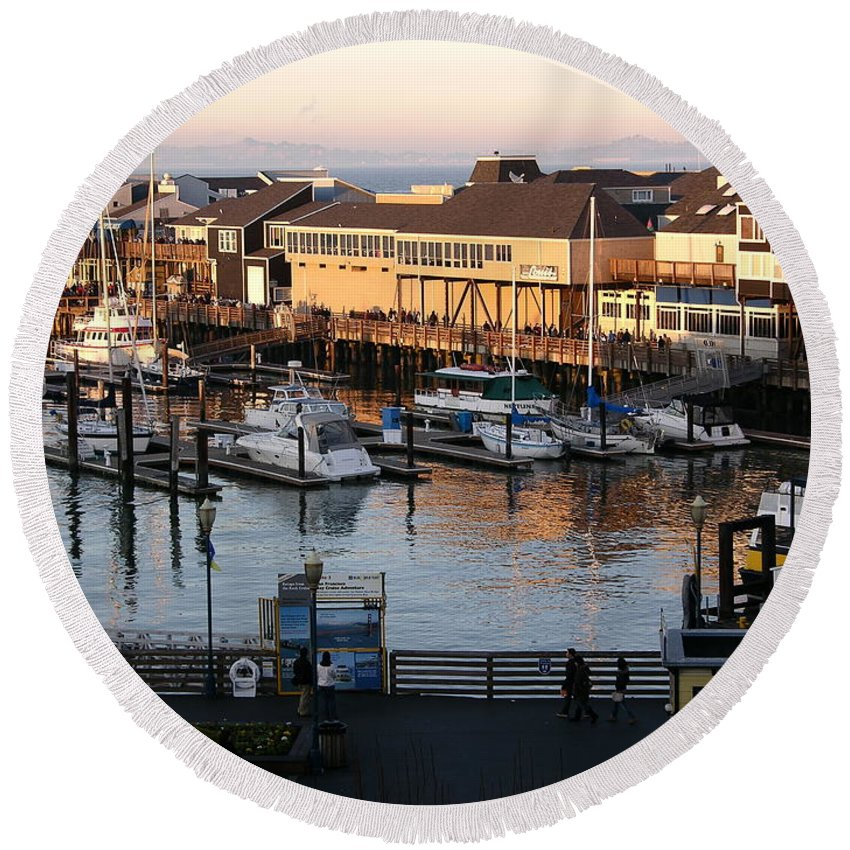 San Francisco Round Beach Towel featuring the photograph Pier 39 In The Sunshine by Carol Groenen