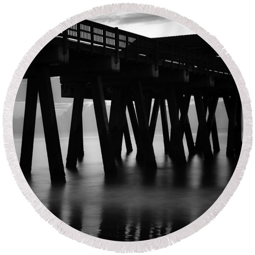 Tybee Round Beach Towel featuring the photograph Pier Abstract by Renee Sullivan