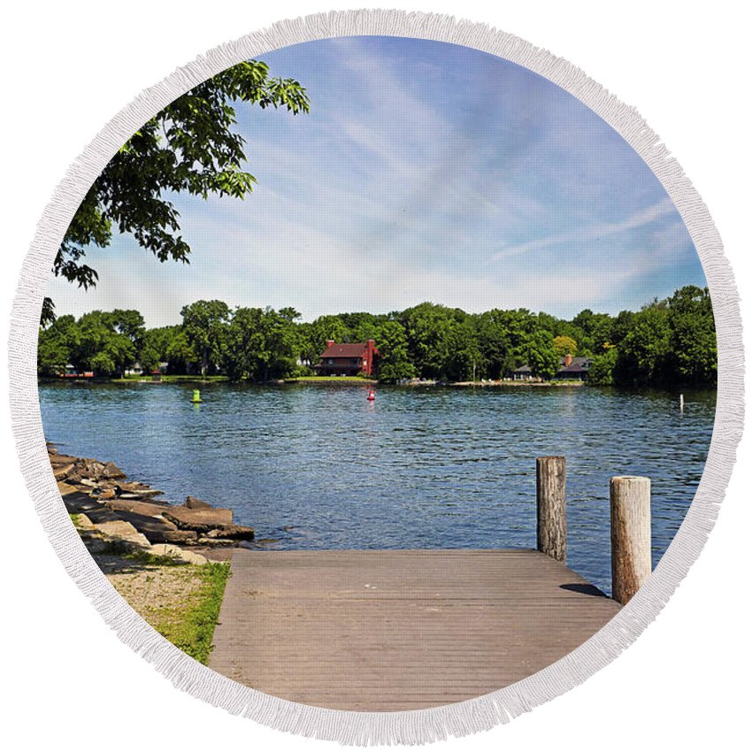 Bruce Bodden Round Beach Towel featuring the photograph Pier At Kimberly Point by Bruce Bodden