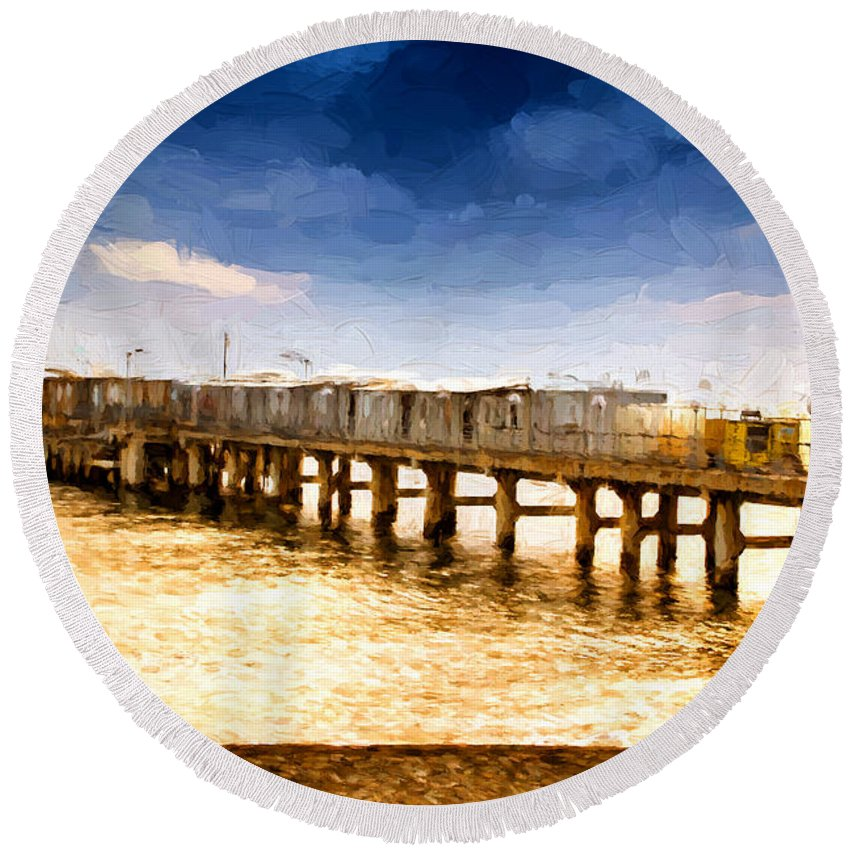 Background Round Beach Towel featuring the photograph Pier At Sunset Oil Painting Photograph by John Williams