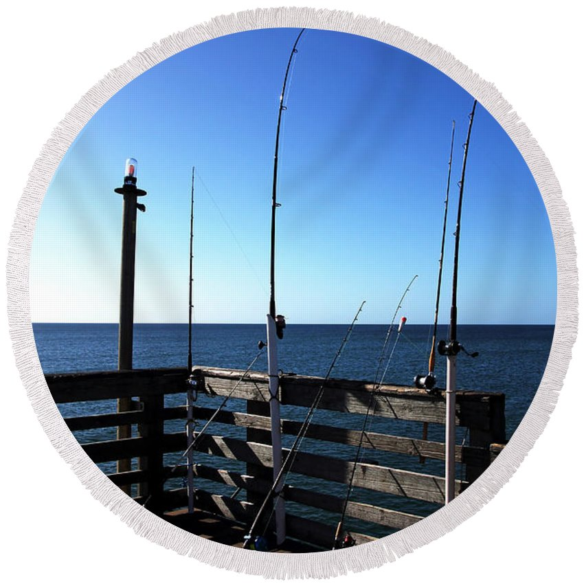 Pier Round Beach Towel featuring the photograph Pier Fishing by Debbie Oppermann