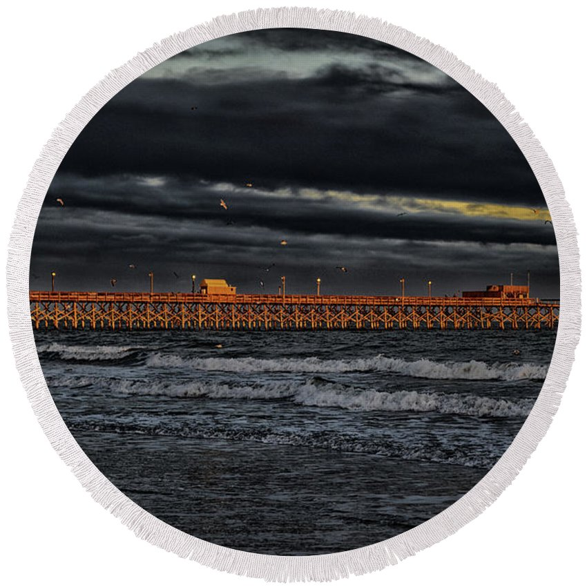 Atlantic Round Beach Towel featuring the photograph Pier Into Darkness by Kelly Reber