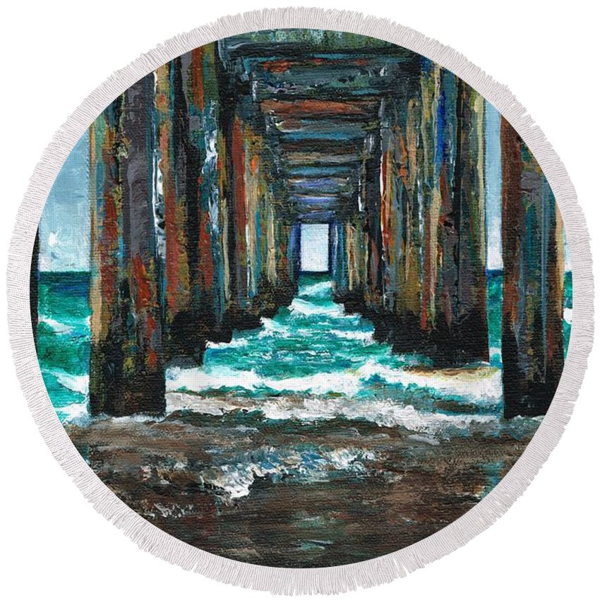 Ocean Round Beach Towel featuring the painting Pier One by Frances Marino