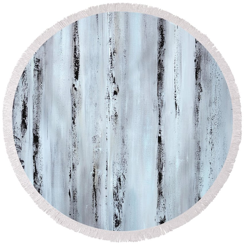 Urban Round Beach Towel featuring the painting Pier Planks by Tamara Nelson