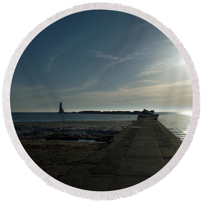 Michigan Round Beach Towel featuring the photograph Pier With Sun by Linda Kerkau