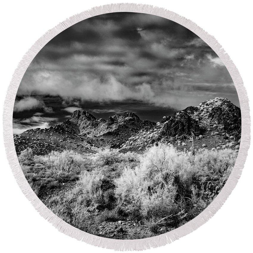Arizona Round Beach Towel featuring the photograph Piestewa Peak Light by Cathy Franklin