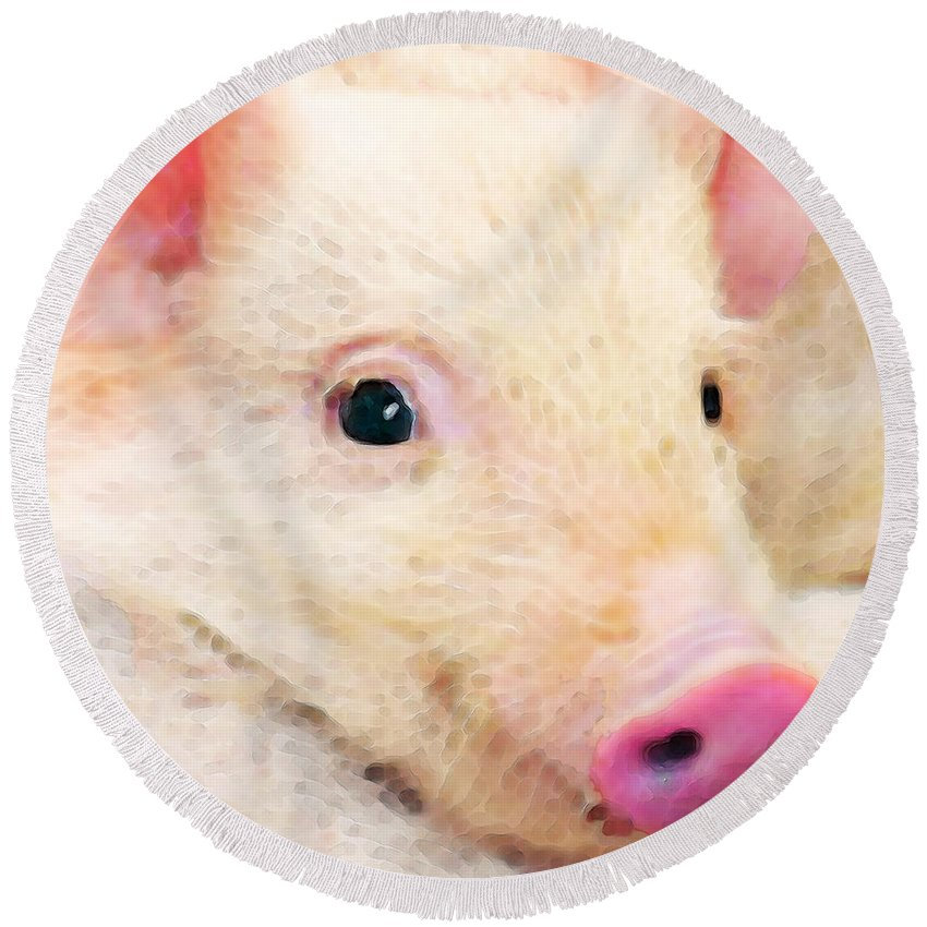 Pig Round Beach Towel featuring the painting Pig Art - Pretty In Pink by Sharon Cummings