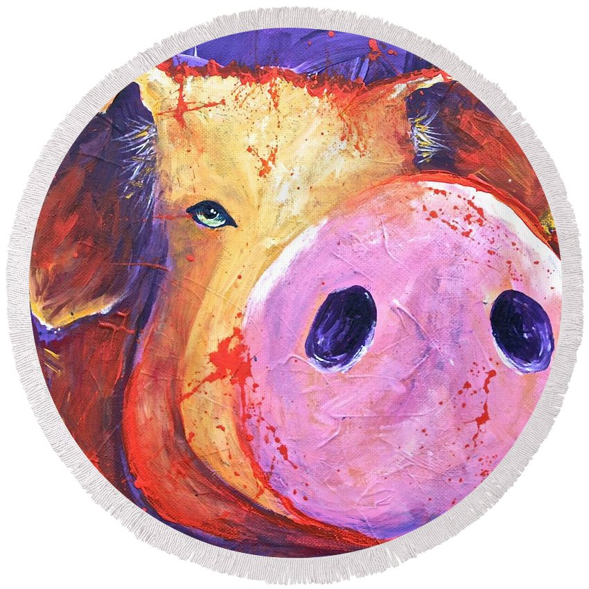 Pig Round Beach Towel featuring the painting Pig On Purple I by Connie Beattie