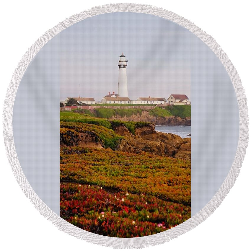 Round Beach Towel featuring the photograph Pigeon Point Ca by Sathyapriya Suresh