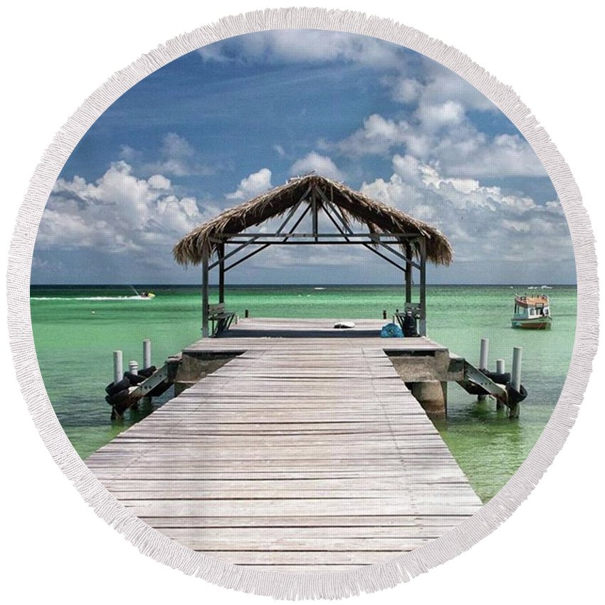 Beautiful Round Beach Towel featuring the photograph Pigeon Point, Tobago#pigeonpoint by John Edwards