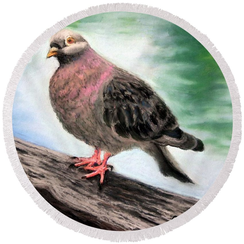 Pigeon Round Beach Towel featuring the painting Pigeon Toes by Minaz Jantz