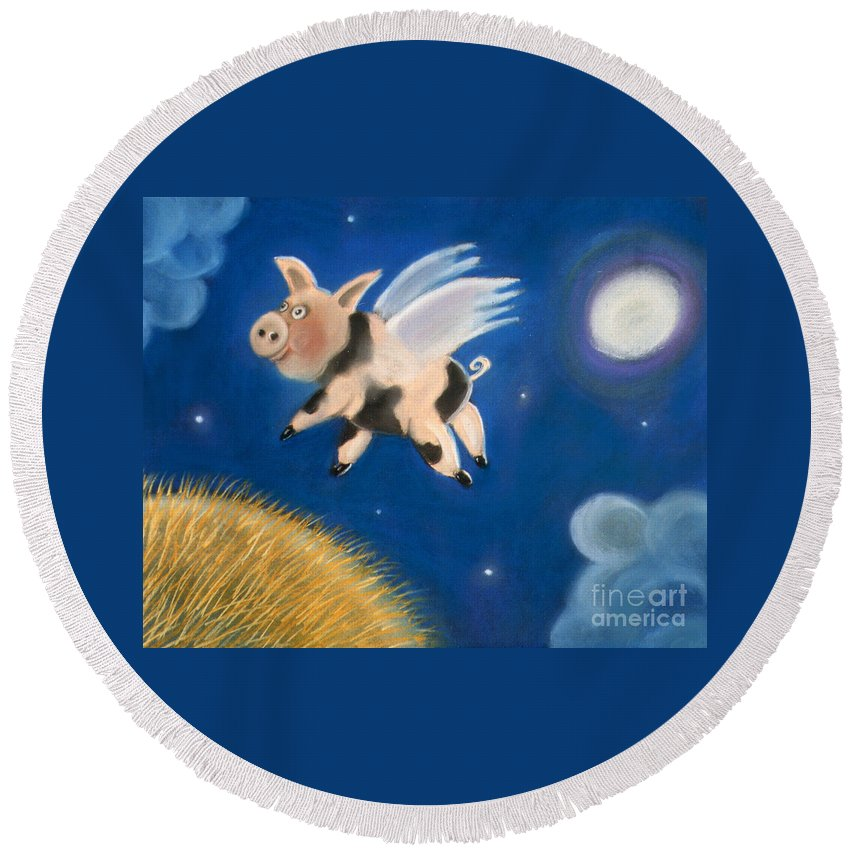 Caroline Peacock Round Beach Towel featuring the pastel Pigs Might Fly by Caroline Peacock