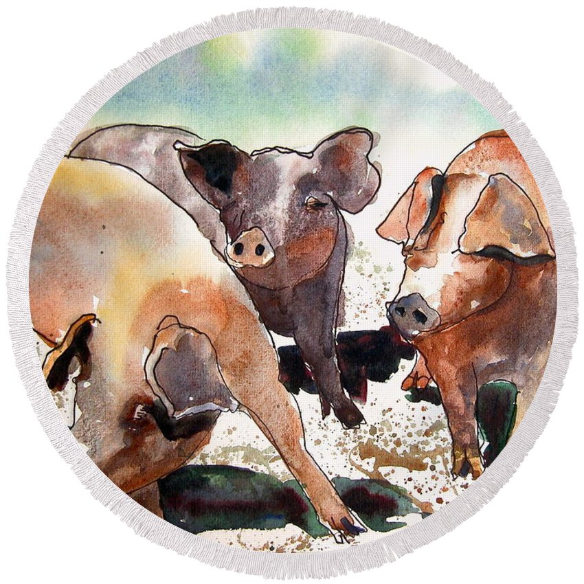 Pigs Round Beach Towel featuring the painting Pigs by Shirley Sykes Bracken