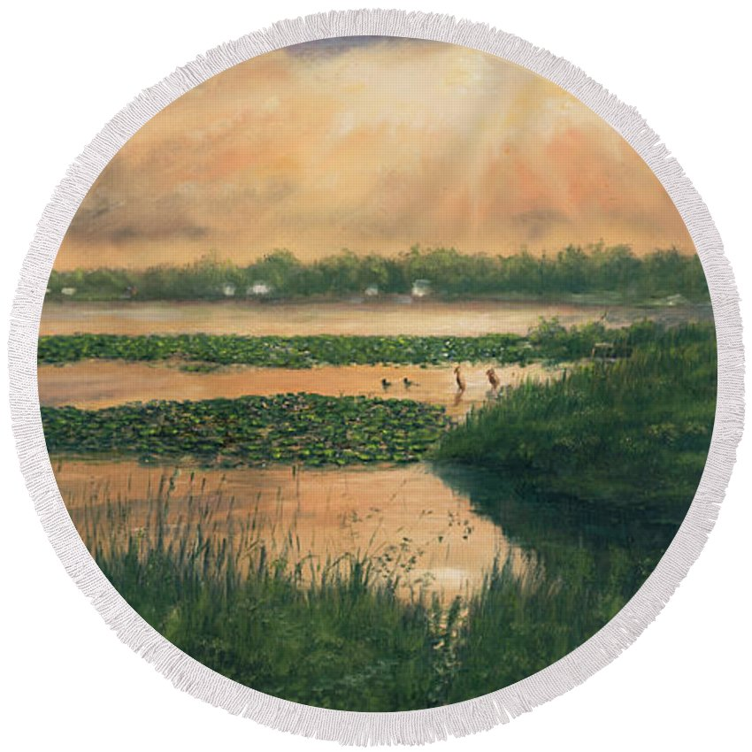 Lakelife Round Beach Towel featuring the painting Pike Lake by Dwight Jeffreys