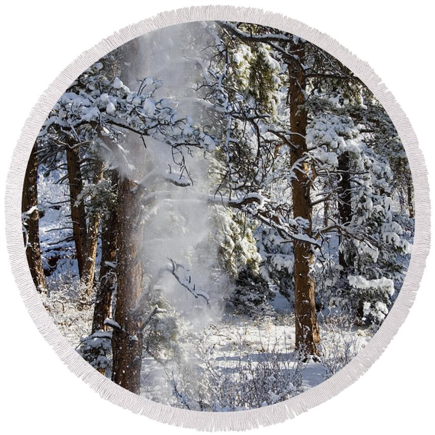Pike National Forest Round Beach Towel featuring the photograph Pike National Forest Snowstorm by Steve Krull