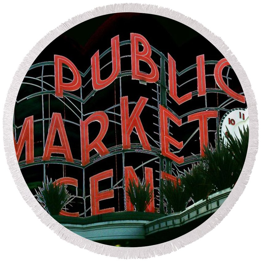 Seattle Round Beach Towel featuring the digital art Pike Place Market Entrance 5 by Tim Allen