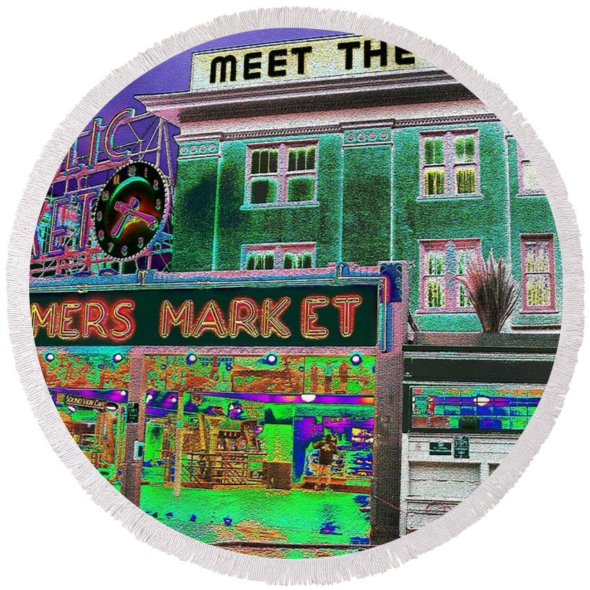 Seattle Round Beach Towel featuring the photograph Pike Place Market by Tim Allen