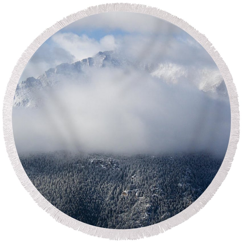 Pike's Peak Round Beach Towel featuring the photograph Pikes Peak In Snow by Steve Krull