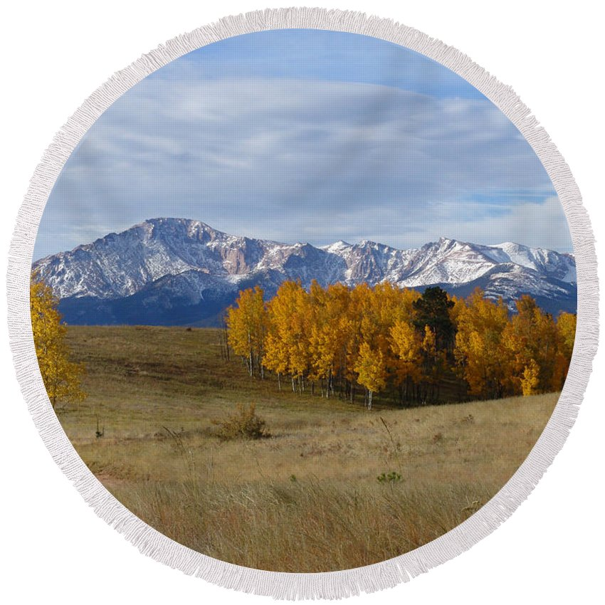 Fall Round Beach Towel featuring the photograph Pikes Peak In The Fall by Carol Milisen