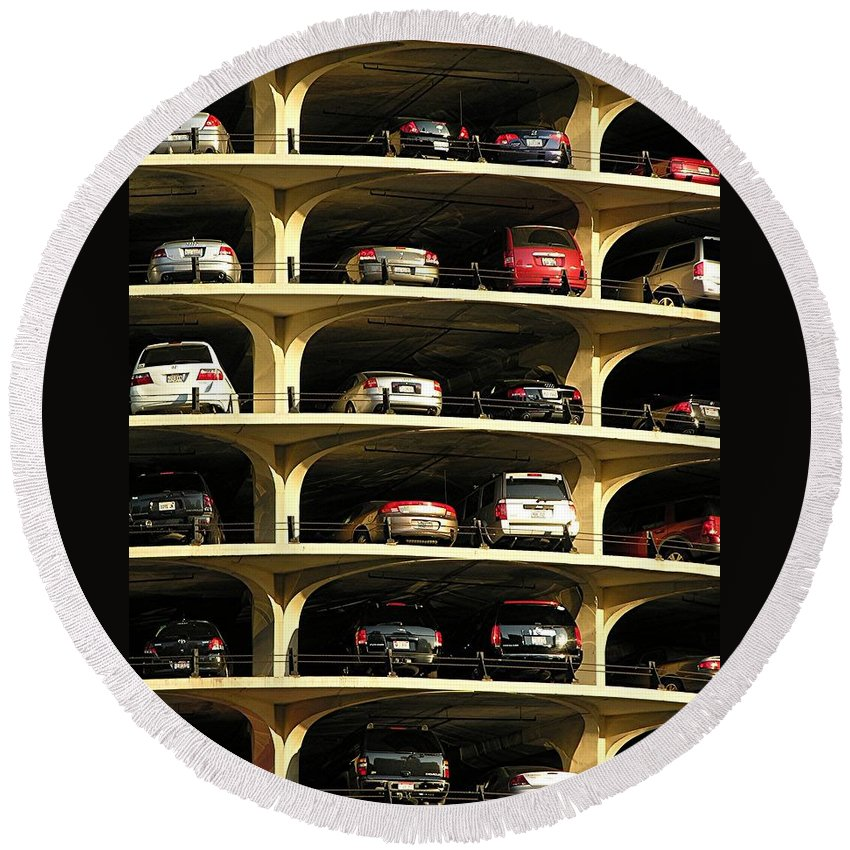 Cars Round Beach Towel featuring the mixed media Piled High by Diane Greco-Lesser