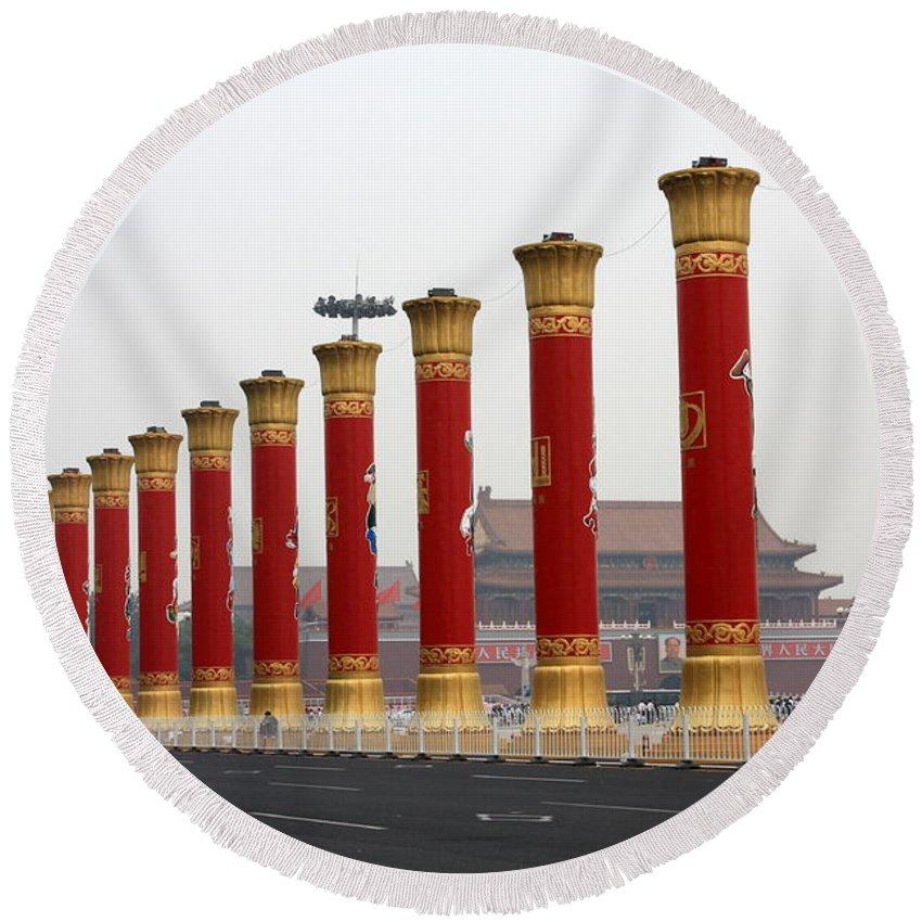 Pillars Round Beach Towel featuring the photograph Pillars At Tiananmen Square by Carol Groenen