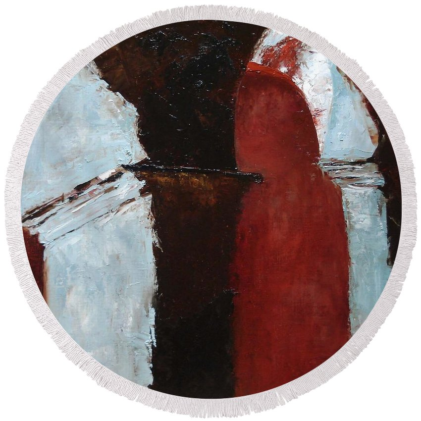 Pillars Round Beach Towel featuring the painting Pillars Of Society by Barbara Andolsek
