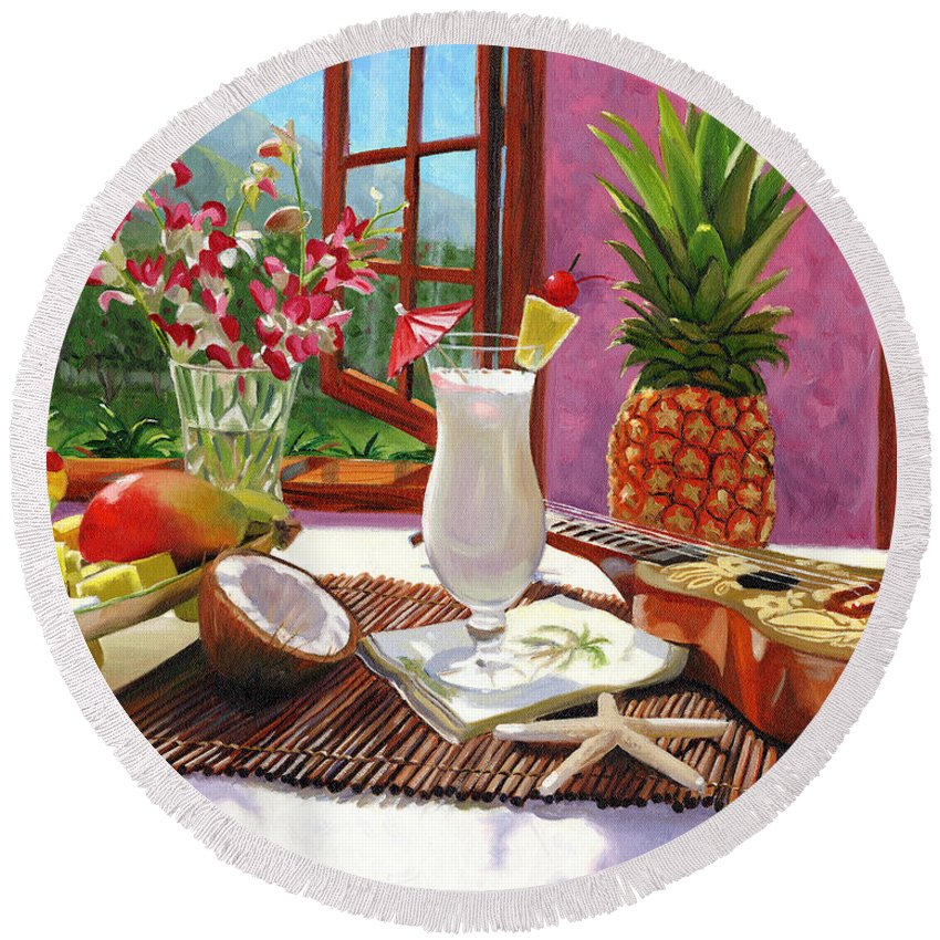 Pina Colada Round Beach Towel featuring the painting Pina Colada by Steve Simon