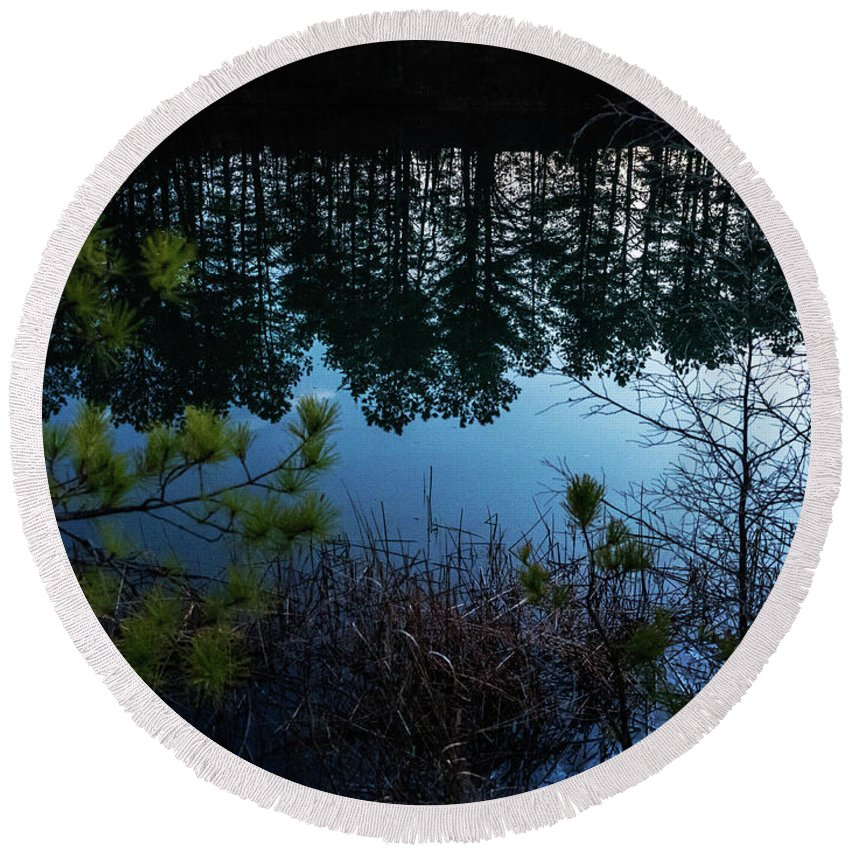 Round Beach Towel featuring the photograph Pine Barren Reflections by Louis Dallara