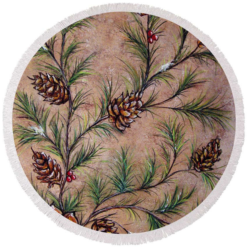 Acrylic Round Beach Towel featuring the painting Pine Cones And Spruce Branches by Nancy Mueller