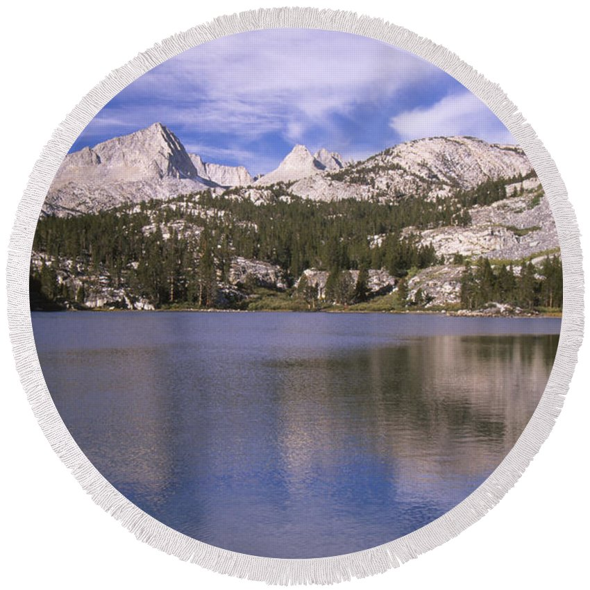 Pine Lake Round Beach Towel featuring the photograph Pine Lake by Soli Deo Gloria Wilderness And Wildlife Photography